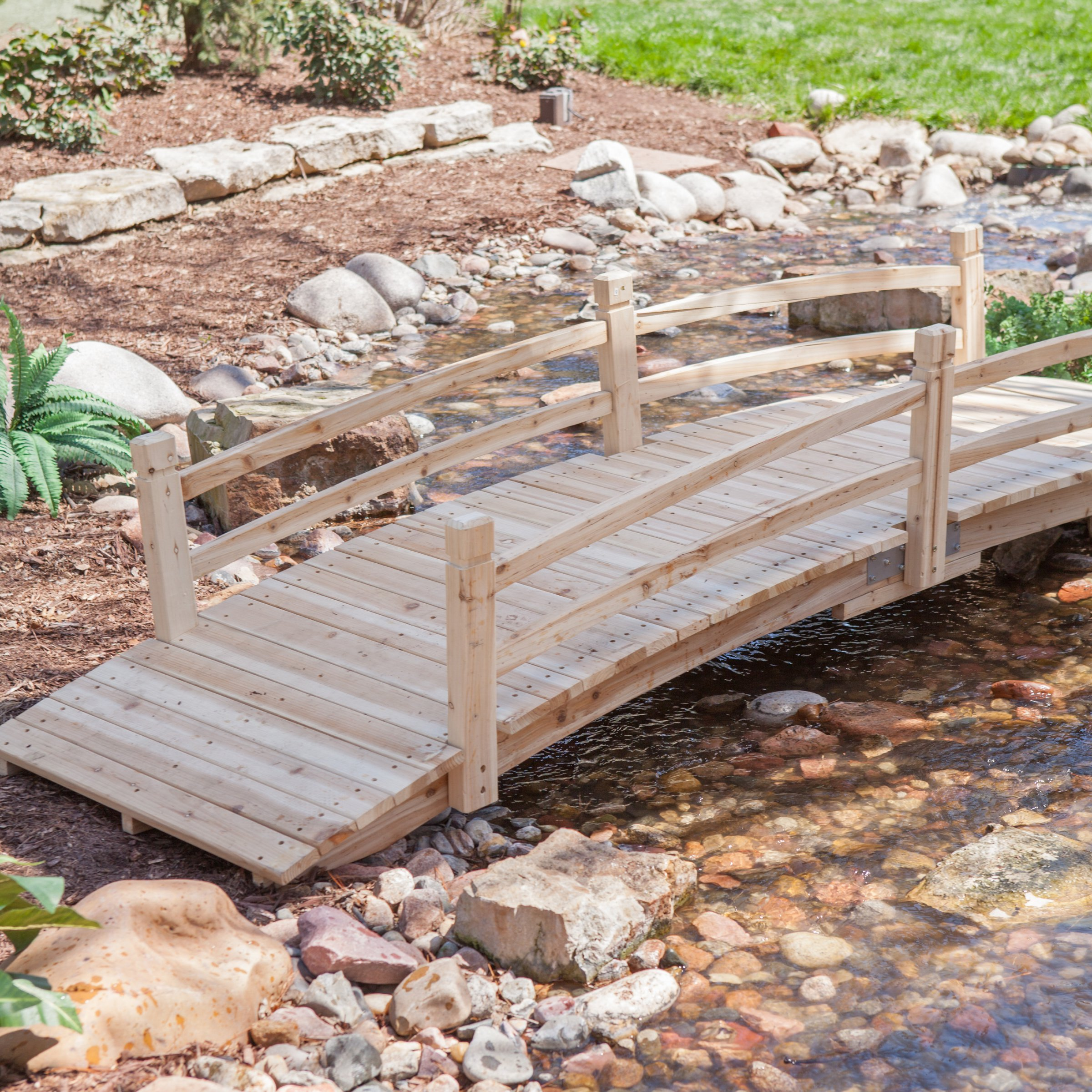 Attractive Design, Weather-Resistant 10-ft. Wood Garden Bridge with Rails - Assembly Required by Coral Coast
