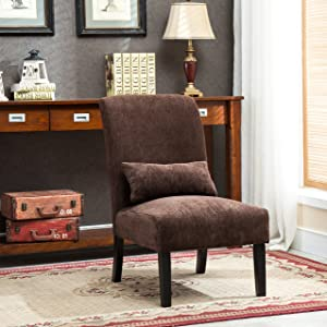 Roundhill Furniture AC160CH Chocolate Pisano Chenille Fabric Armless Contemporary Accent Chair with Matching Kidney Pillow