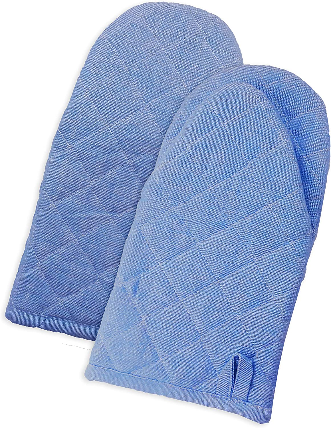 Set of 2 Oven Mitts, Country Blue Chambray, 100% Cotton Oven Mitts, Size 13x6 Inch, Heat Resistant for cooking and baking.