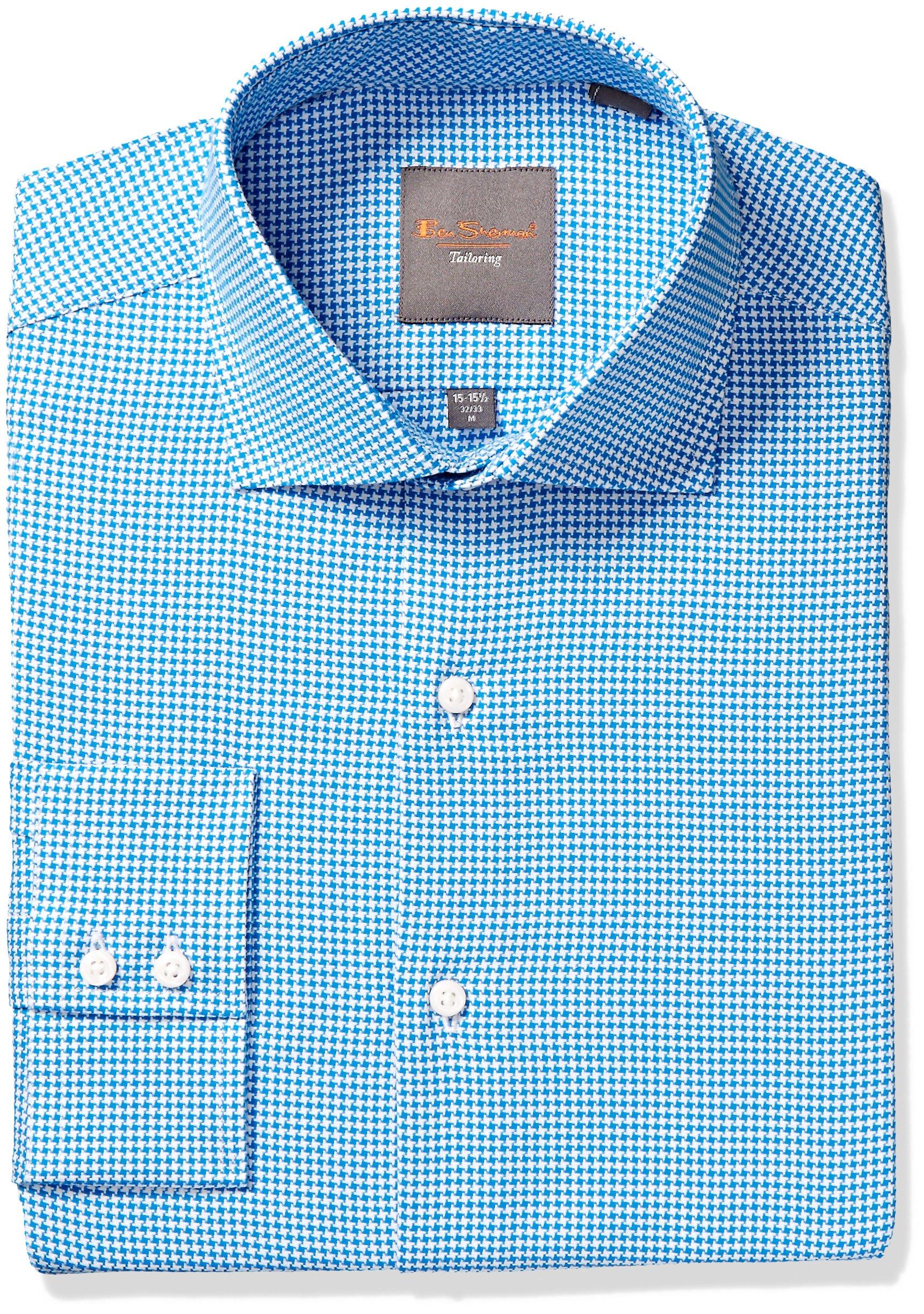 Ben Sherman Men's King Slim Fit Dobby Dress Shirt, Teal, 16'' Neck 34/35'' Sleeve by Ben Sherman