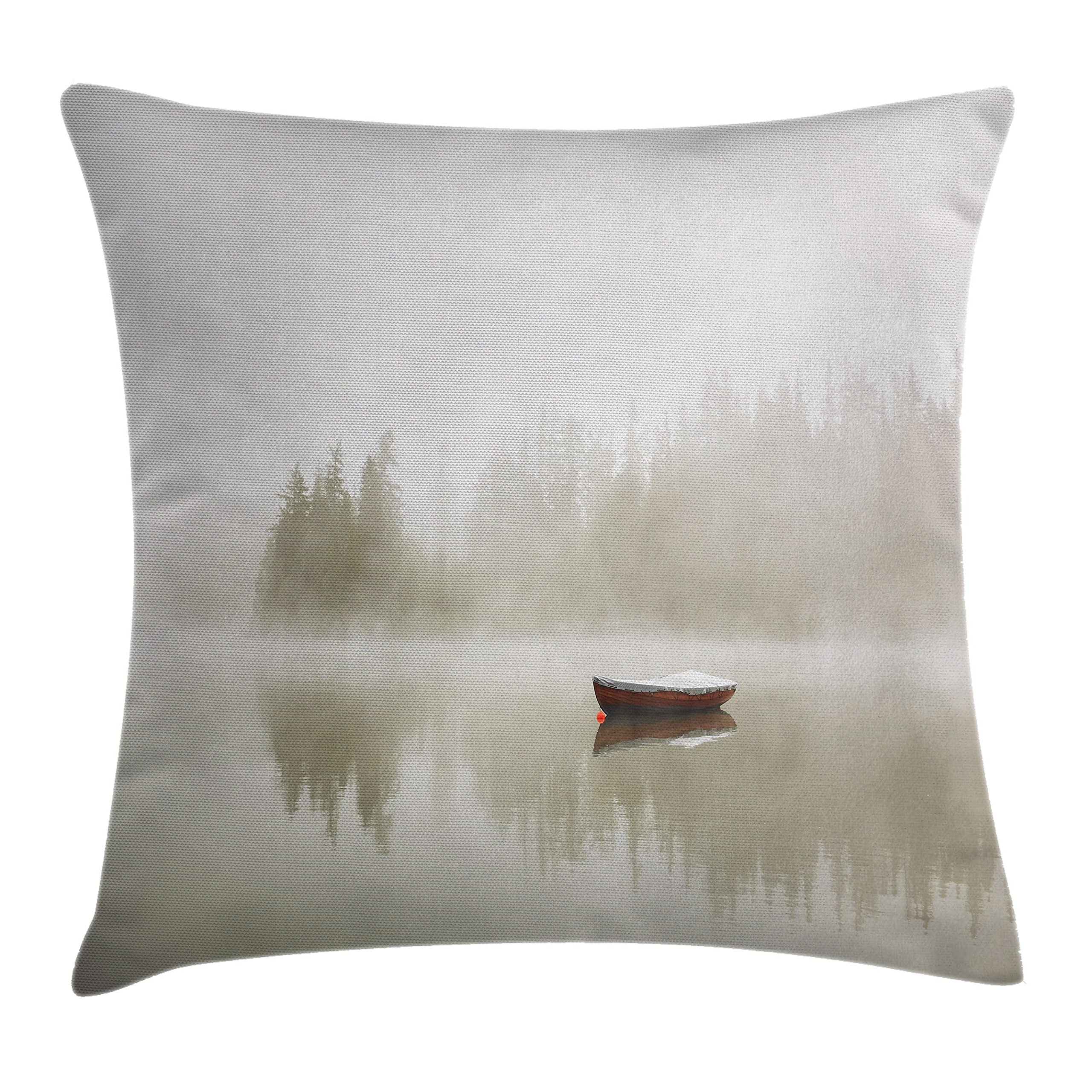 Ambesonne Landscape Throw Pillow Cushion Cover, Boat on The Lake with Silhouettes of Trees on The Water Sky Nature Art, Decorative Square Accent Pillow Case, 18 X 18 Inches, Eggshell Brown Orange