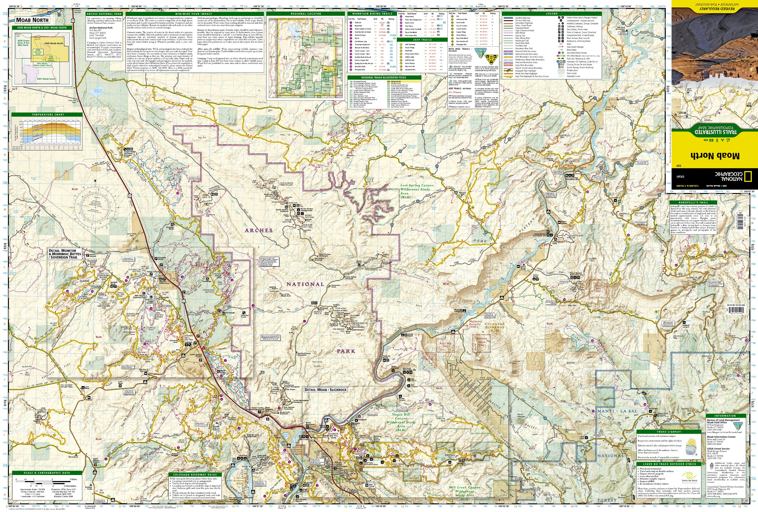 Moab North : outdoor recreation map : Utah, USA : rated mountain ...