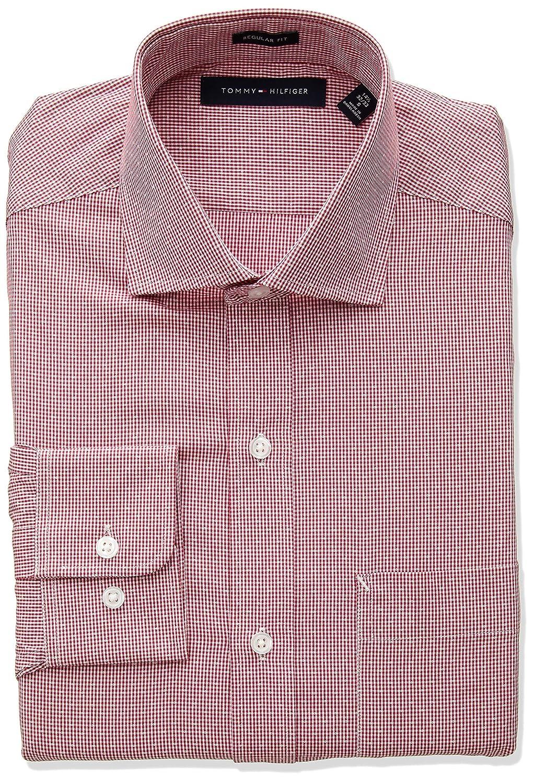 1412cb38 Tommy Hilfiger Men's Dress Shirts Regular Fit Check at Amazon Men's  Clothing store: