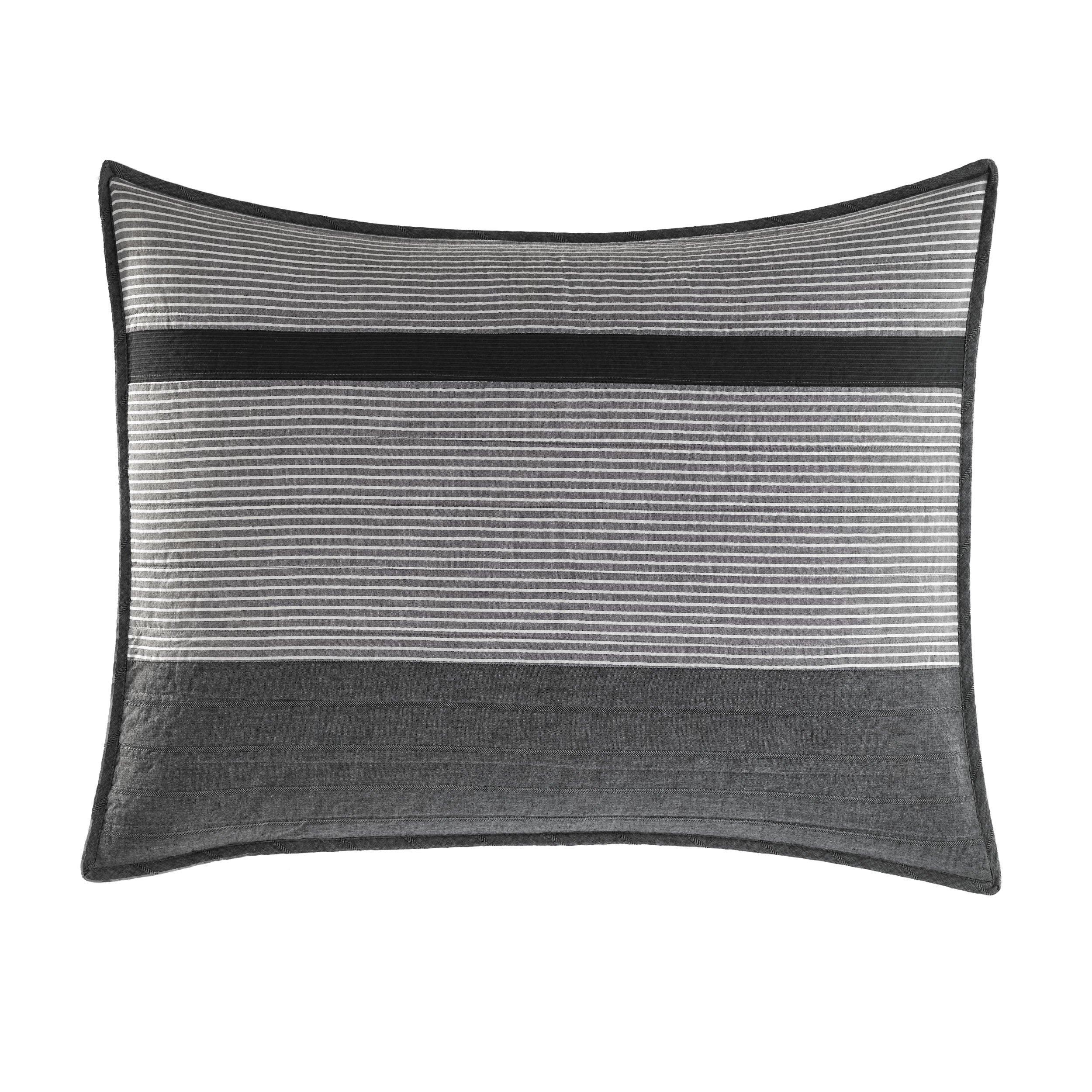 Nautica Vessey Cotton Pieced Quilted Sham, Standard, Gray