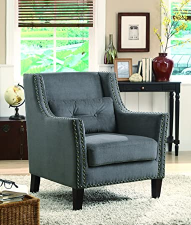 Coaster Home Furnishings Transitional Accent Chair, Dark Brown/Dark Grey