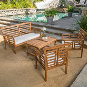 Louis Patio Furniture 4 Piece Outdoor Chat Set | Acacia Wood with a