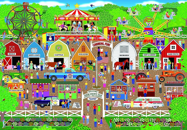 Amazon com: LPF Farm County Fair Collector Art 500 pc Jigsaw