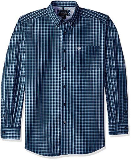 afc2aefd ARIAT Men's Fitted Long Sleeve Button Down Shirt, Abington True Navy ...