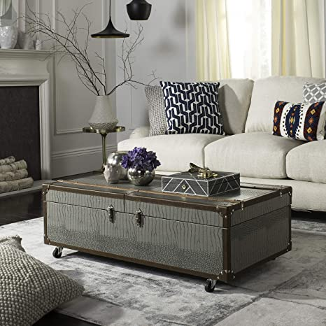 Amazon Com Safavieh Home Zoe Grey Faux Leather Storage Trunk Coffee Table With Wine Rack Furniture Decor