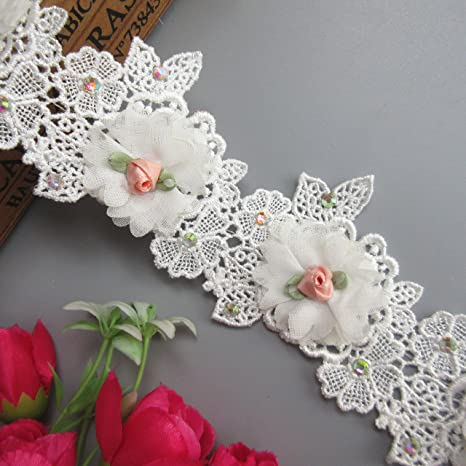 1 Artificial Chiffon Flower Lace Trim Applique Wedding Dress Sewing Ribbon Craft