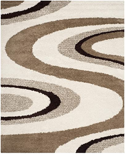 Safavieh Art Shag Collection SG917-1225 Ivory and Brown Area Rug 4 x 6