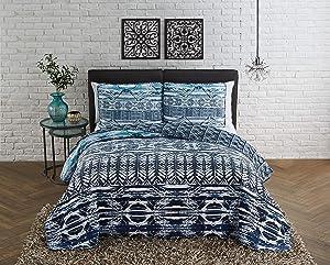 Geneva Home Fashion Alexis 3pc Queen Reversible Quilt Set, Blue/White 3 Each