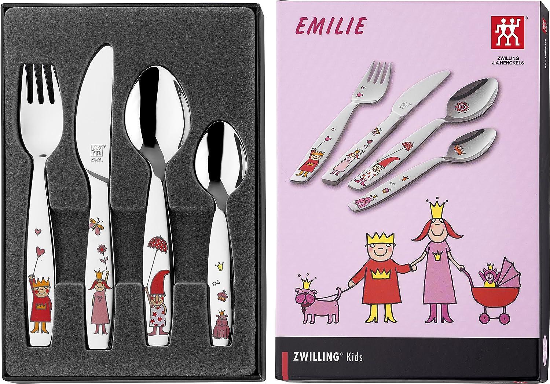 Zwilling PRINCESS EMILIE - Juego cubertería infantil 4 piezas con esmalte, en acero inoxidable 18/10: Amazon.es: Hogar