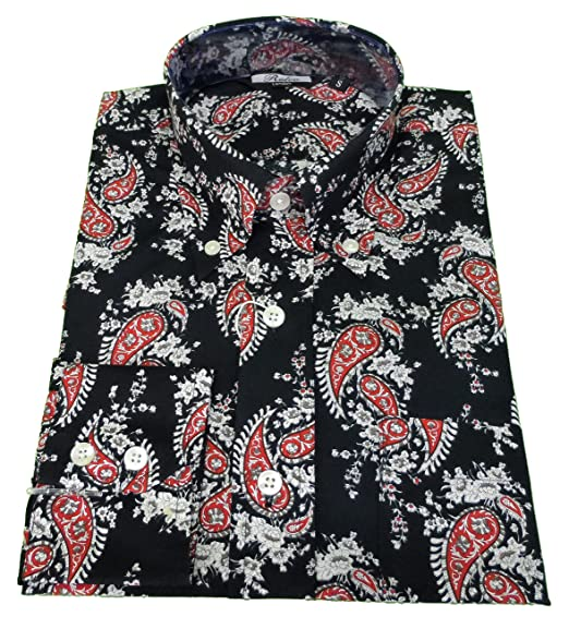 b2ac26e2596 Relco Mens Navy Paisley Long Sleeved Button Down Shirts  Amazon.co.uk   Clothing