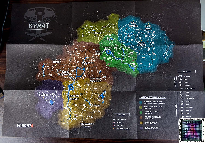 Amazon Com Far Cry 4 Map Of Kyrat 23 5 X 16 5 Home Kitchen