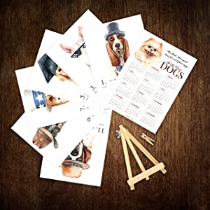 2021 Desk Calendar 5x7 with Wooden Display Easel Stand: Watercolor Art Animal Cat Dog Lover Home Office Décor (2021-Dogs, Mini Easel)