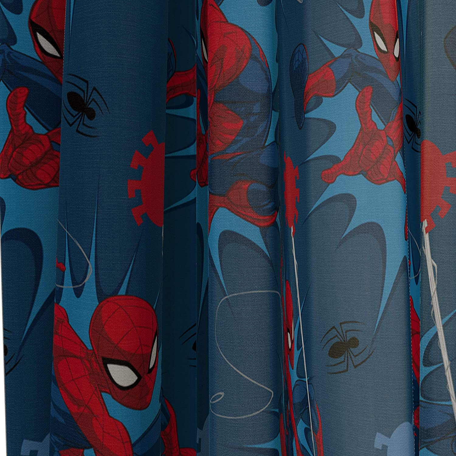 Bedding 4 Piece Set Marvel Spiderman Spidey Daze 63 Inch Drapes Curtains Include 2 Tiebacks Beautiful Room D/écor /& Easy Set Up Official Marvel Product