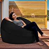 XXL Bean Bag Chair in Black Onyx - Big Velour Comfort Cover with Memory Foam Filler - Gigantic Bed, Large Sofa, Cozy Lounger, Chill Mattress - Kids, Adults & Teens Love This Huge Sack Panda Sleep