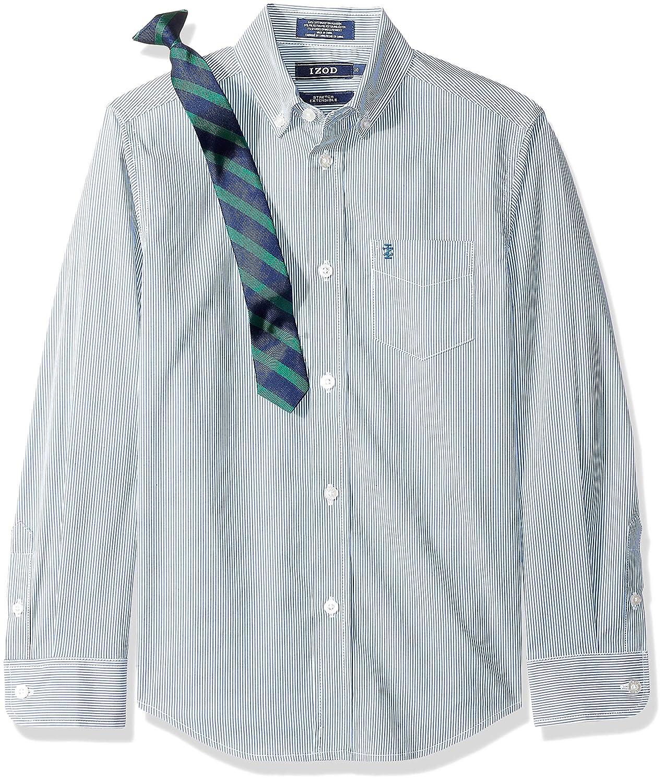 Izod Boys Long Sleeve Dress Shirt with Tie