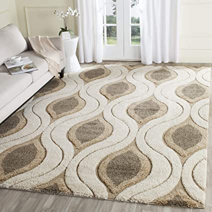 3d4847a30d7 Image Unavailable. Image not available for. Color  Safavieh Florida Shag  Collection SG461-1179 Cream and Smoke Area Rug (8  x