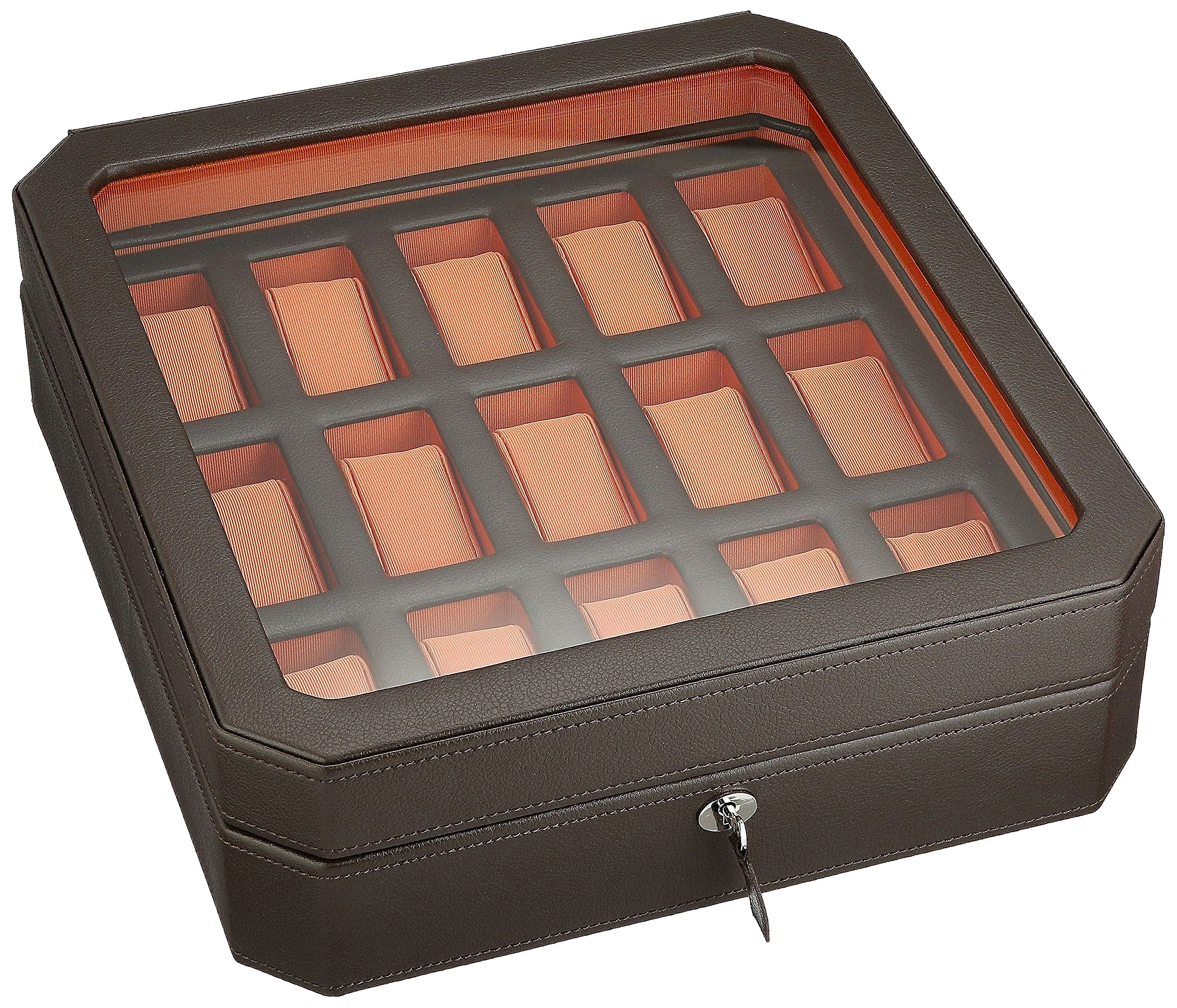 WOLF 458506 Windsor 15 Piece Watch Box with Cover, Brown/Orange by WOLF