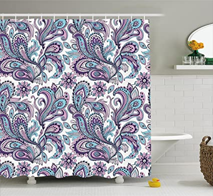 Ambesonne Paisley Shower Curtain Set Blue And Purple Large Flowers Leaves Floral Pattern Bohemian Style