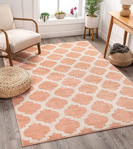 "Tinsley Trellis Pink Ivory Moroccan Lattice Modern Geometric Pattern 8x11 7'10"" x 9'10"" Area Rug Soft Shed Free Easy to Clean Stain Resistant"