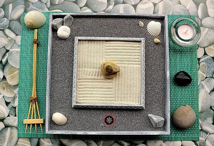Feng Shui E Ufficio : Giardino zen in miniatura o zen garden da tavolo in legno per