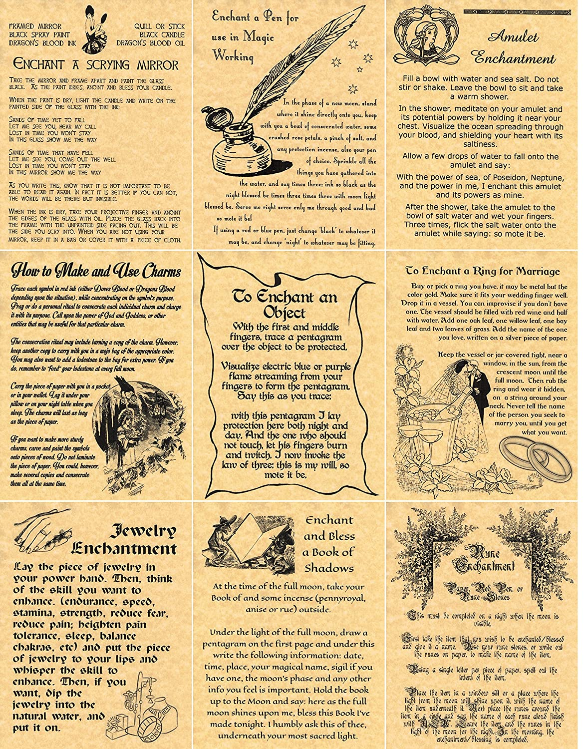 Amazon.com: Set of 9 Enchantments, Book of Shadows Spells Pages ...
