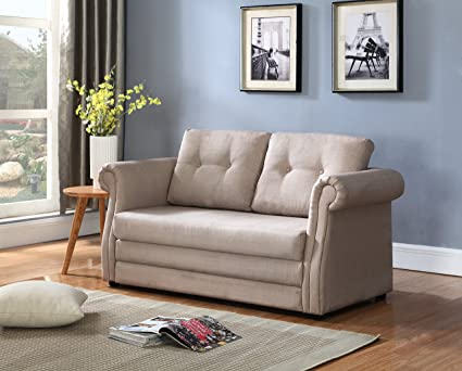 Container Furniture Direct Jones Collection Modern Reversible Fabric  Upholstered Loveseat And Sofa Bed, Beige