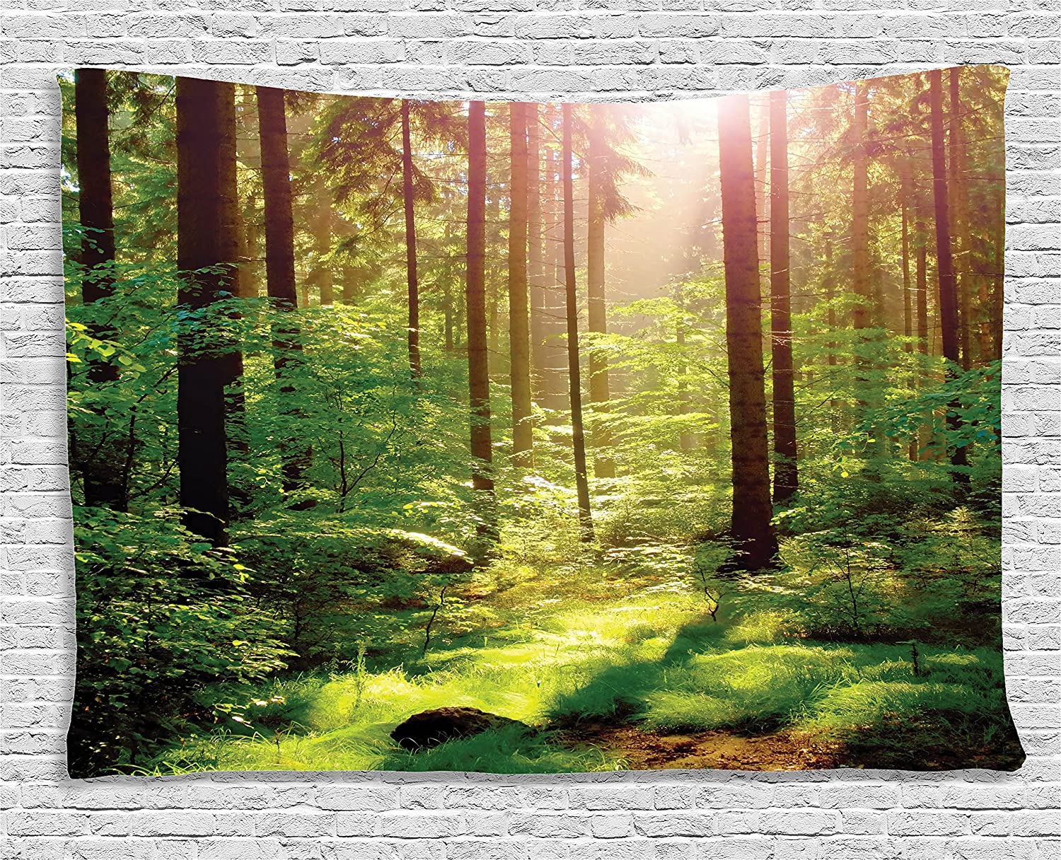 Amazon.com: Forest Tapestry Green Decor by Ambesonne, Spring Time ...