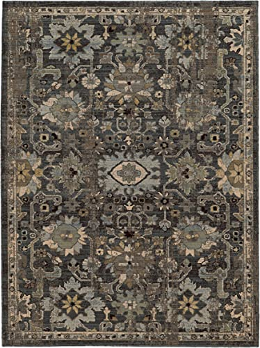 7 10 x 10 10 Rectangular Oriental Weavers Area Rug by Tommy Bahama VIT-668N2 Blue Gray Color Machine Made in Egypt Tommy Bahama Vintage Collection Floral Pattern