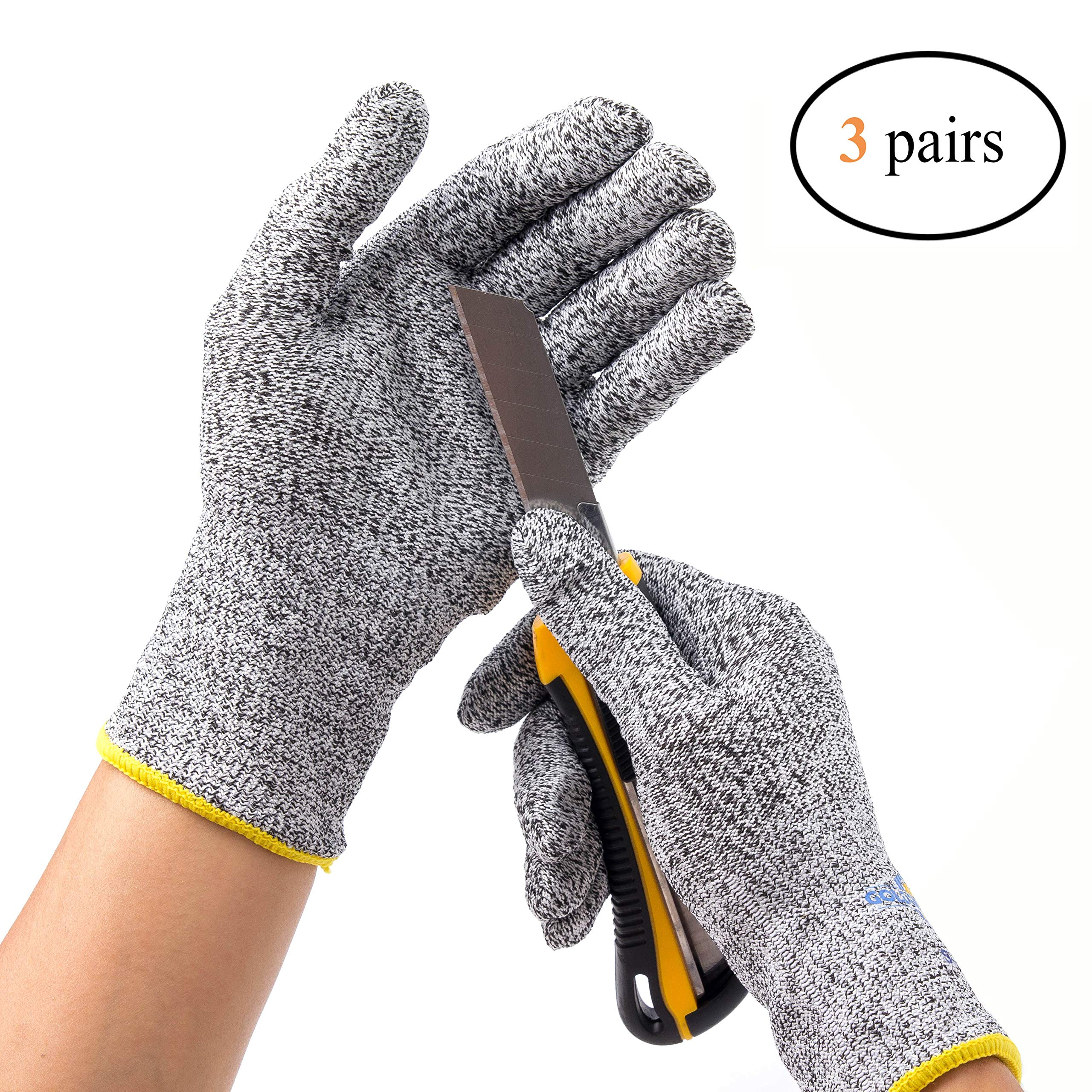 Golden Scute Level 5 Protection Cut Resistant Safety Work Gloves, Food Grade, 3 Pairs (Large/Size 9)