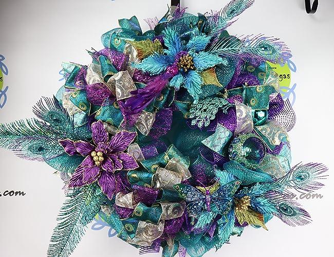 peacock christmas wreath purple and teal holiday decor poinsettia door decor peacock decor