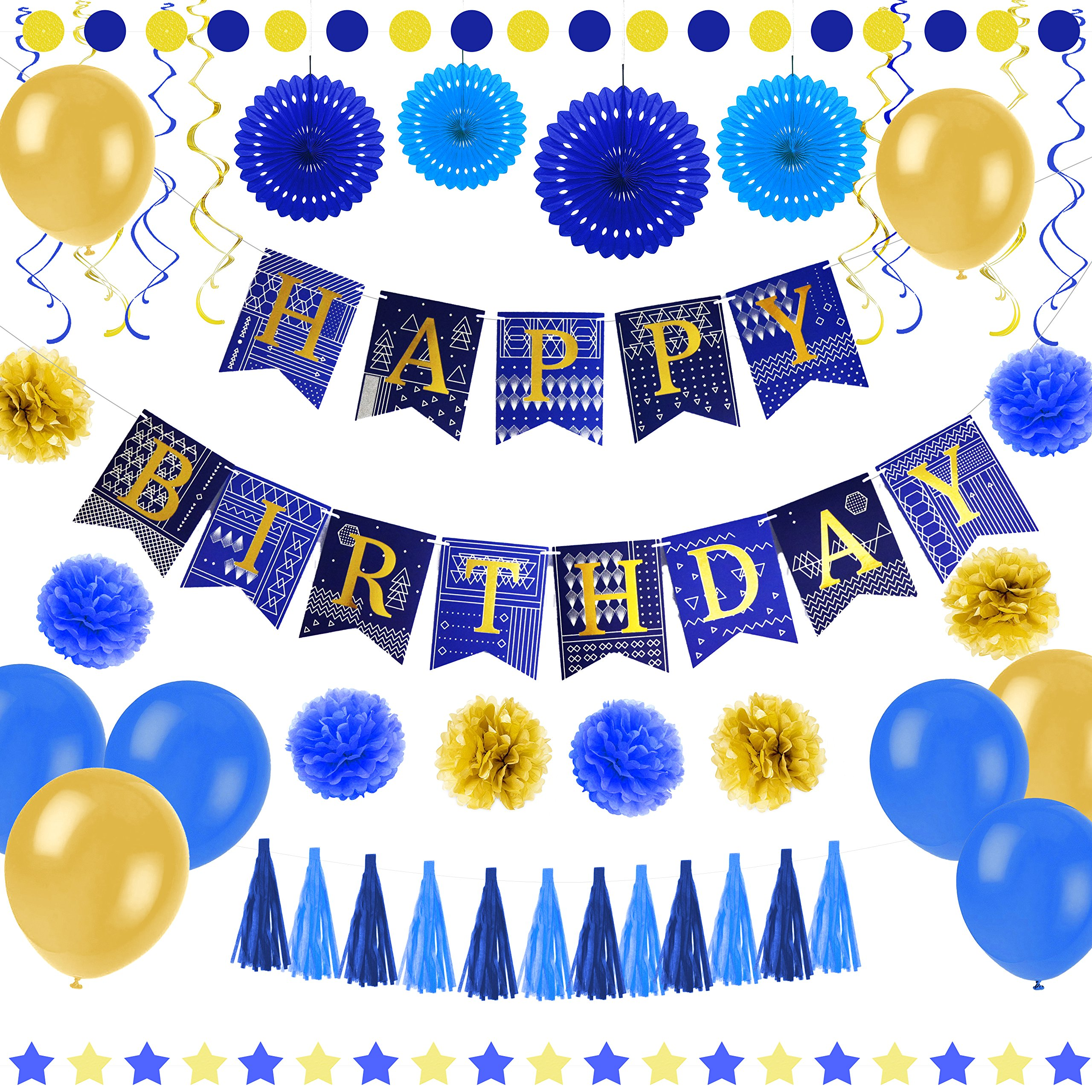 55 Pcs Blue And Gold Birthday Party Decorations