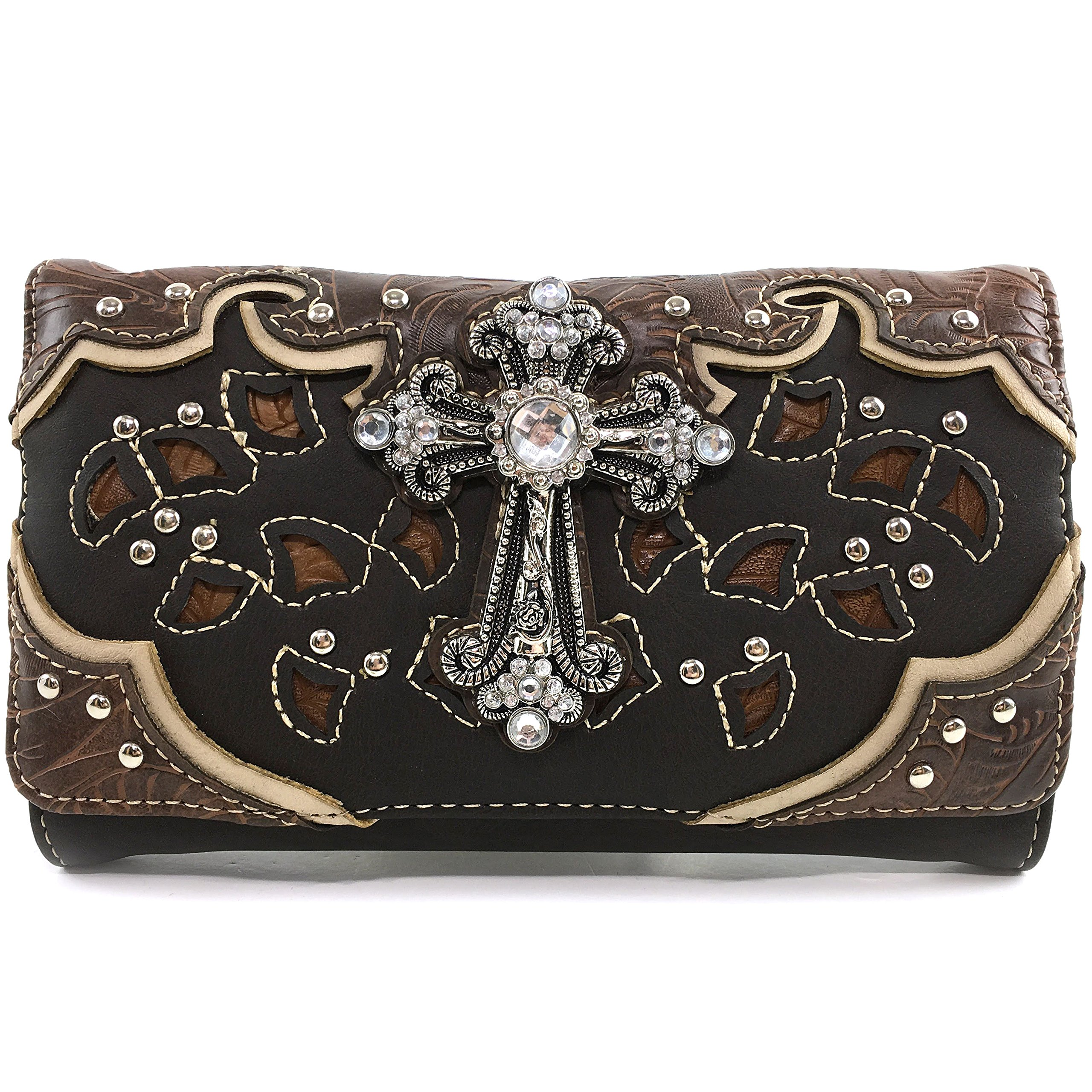 Justin West Tooled Leather Laser Cut Rhinestone Cross Studded Shoulder Concealed Carry Tote Style Handbag Purse (Brown Wallet)