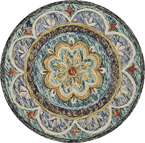 LR Home Floral Distressed Medallion Area Rug