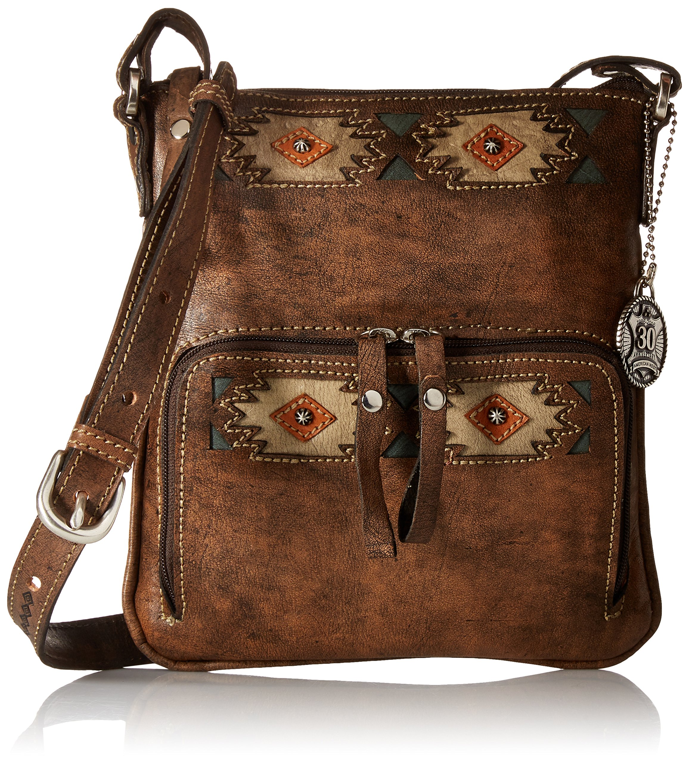 American West Native Sun Crossbody/Wallet, Distressed Charcoal Brown