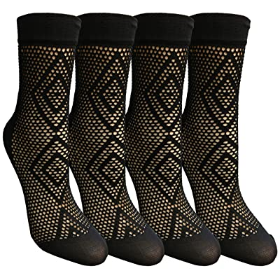 4 Pairs of Yacht&Smith Fisnet Ankle Socks, Mesh Patterned Anklet Sock