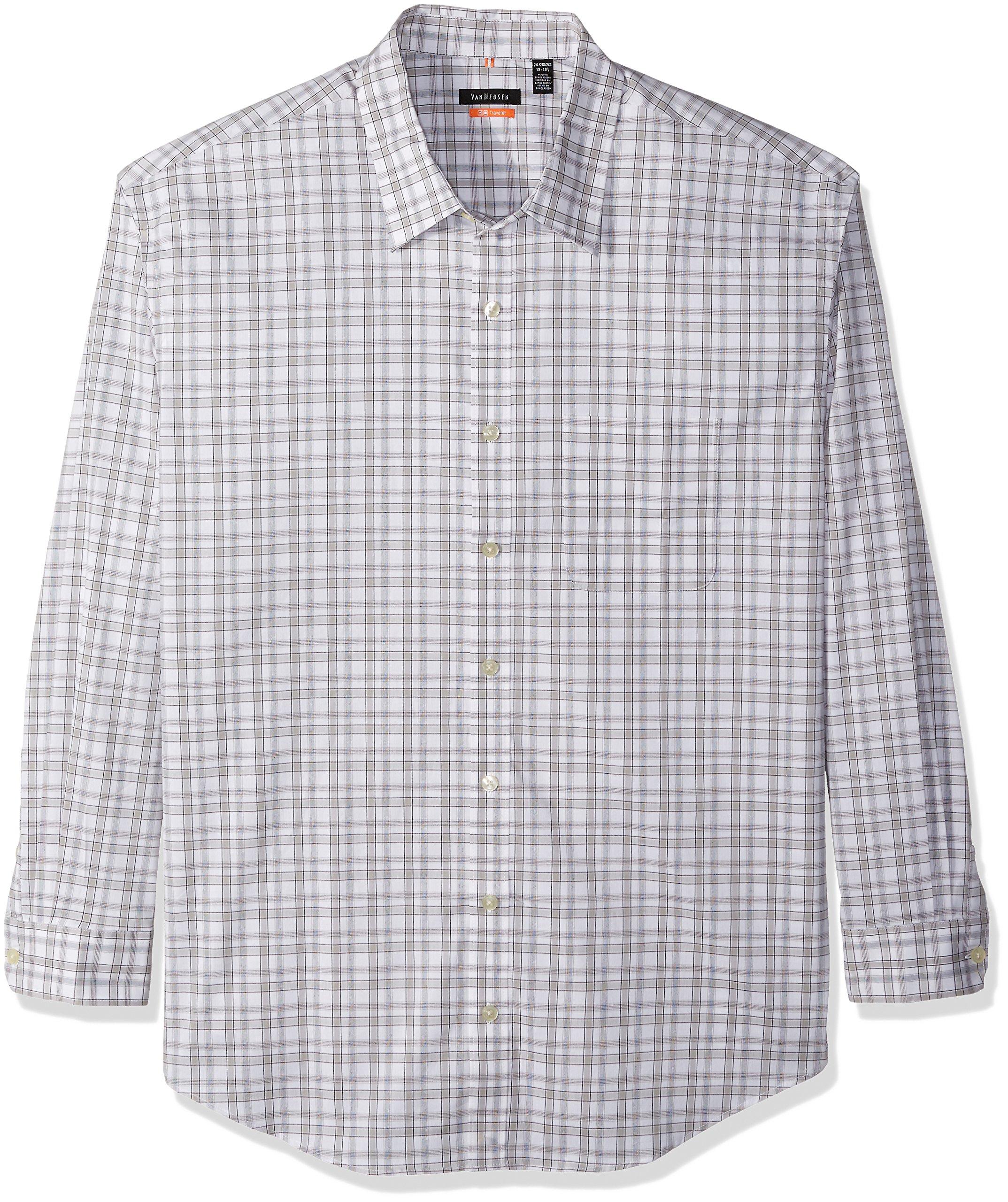 Van Heusen Men's Big and Tall Traveler Non Iron Stretch Long Sleeve Shirt, Mirage Gray, X-Large Tall