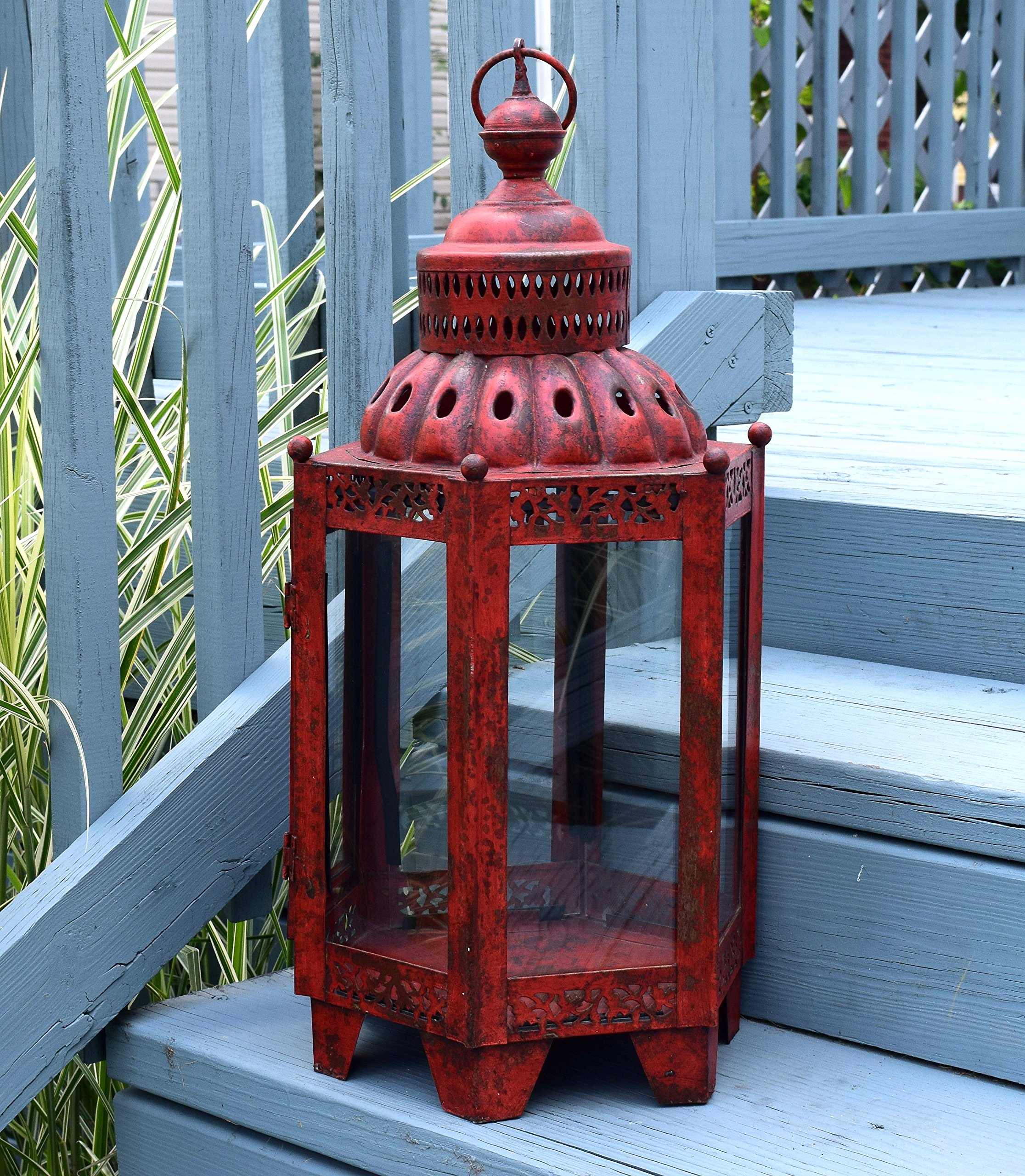 American Patio - Large Rustic Outdoor Lantern - Antique Candle Holder (Red) by American Patio