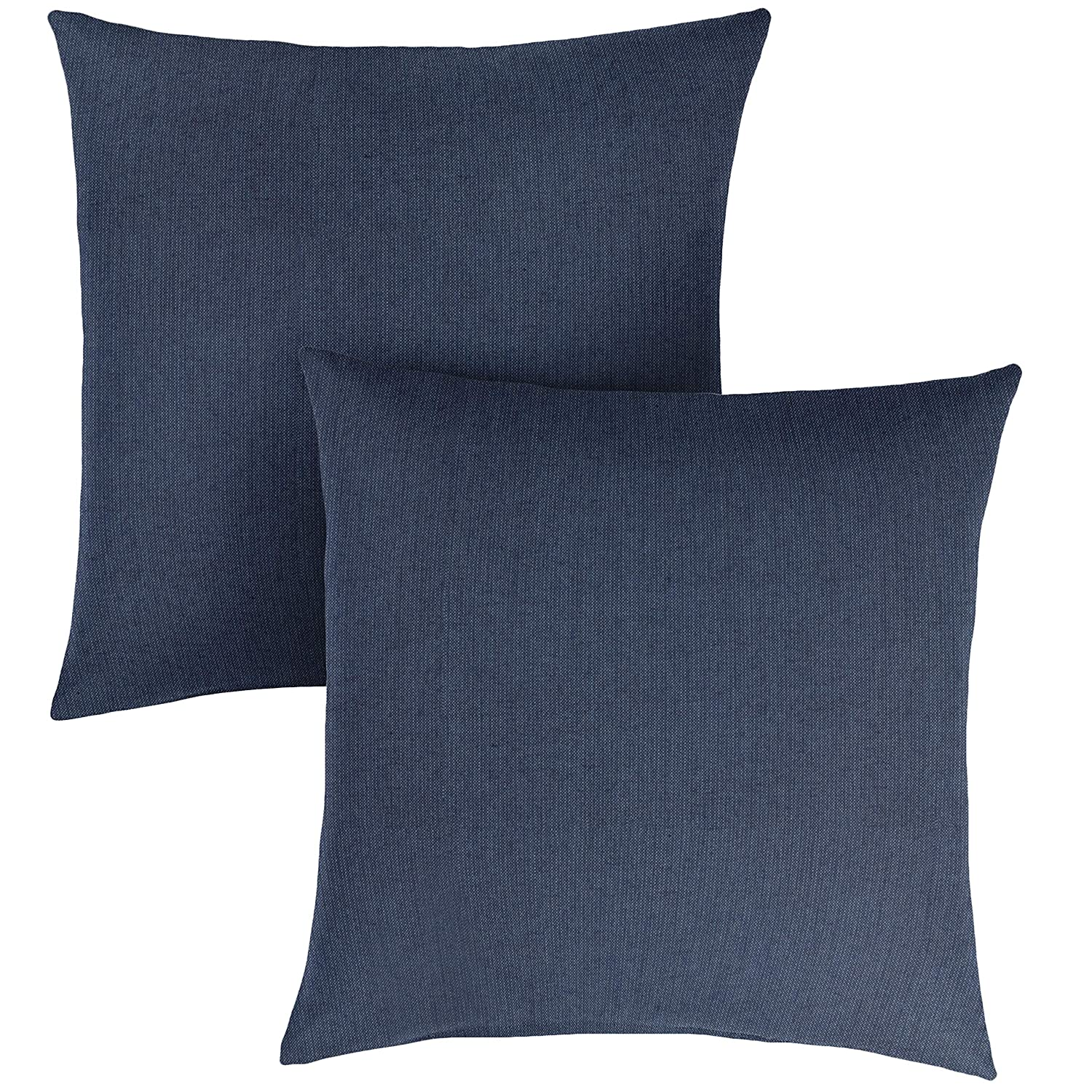 1101Design Sunbrella Spectrum Indigo Knife Edge Decorative Indoor Outdoor Square Throw Pillows, Perfect for Patio D cor – Indigo Blue 16 Set of 2
