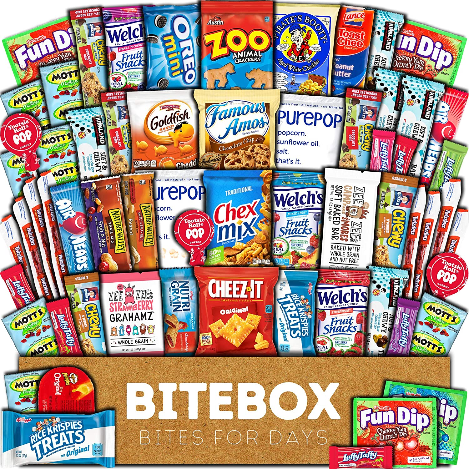BiteBox Care Package (60 Count) Snacks Food Cookies Granola Bar Chips Candy Ultimate Variety Gift Box Pack Assortment Basket Bundle Mix Bulk Sampler Treats College Students Office Staff Back to School