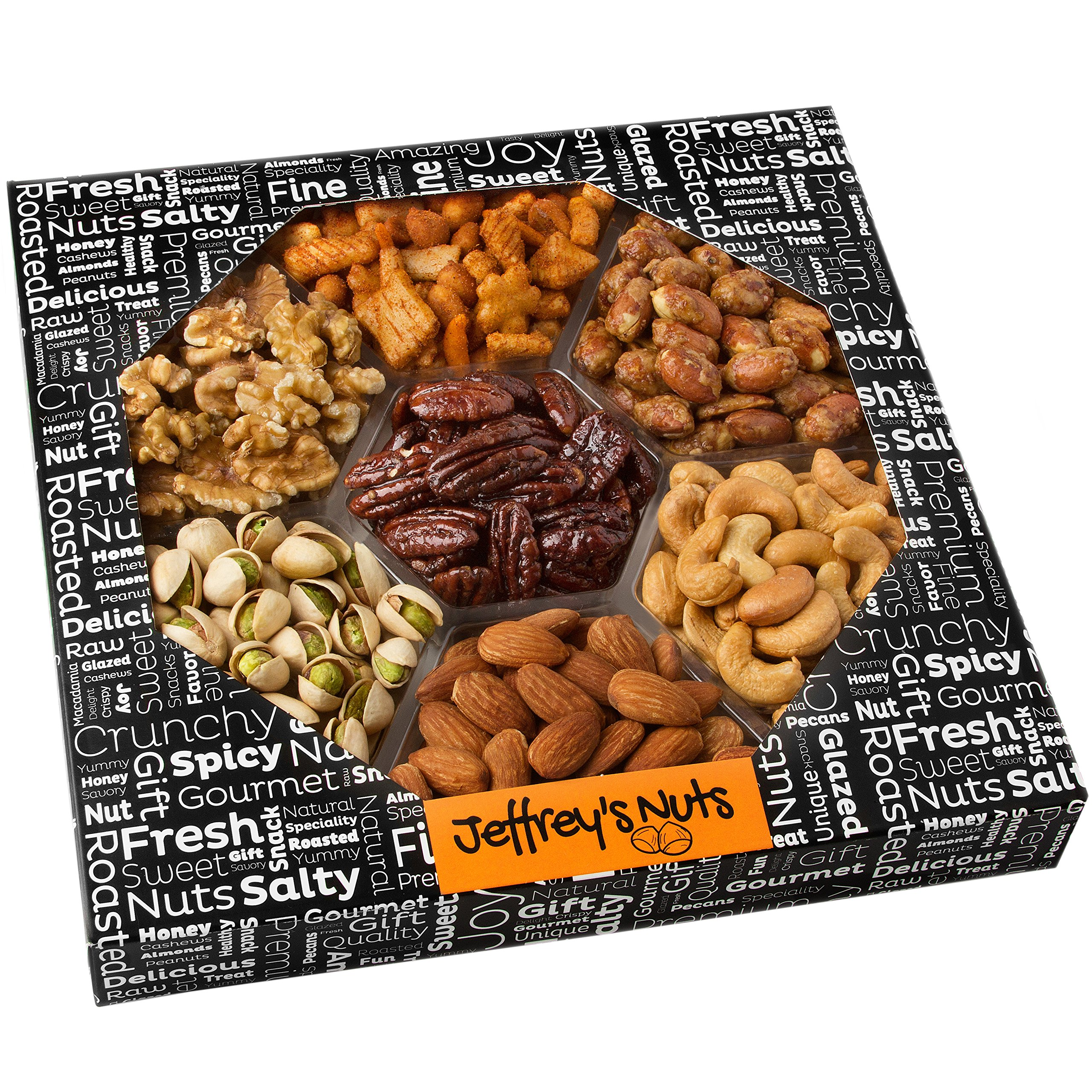 Jeffrey's Nuts Christmas, Holiday Nut Gift Basket for Men - Thanksgiving Baskets Variety Assortment, Prime Corporate Food Delivery for Him or Her, Fresh & Gourmet Healthy Get Well Ideas or Birthday by Jeffrey's Nut