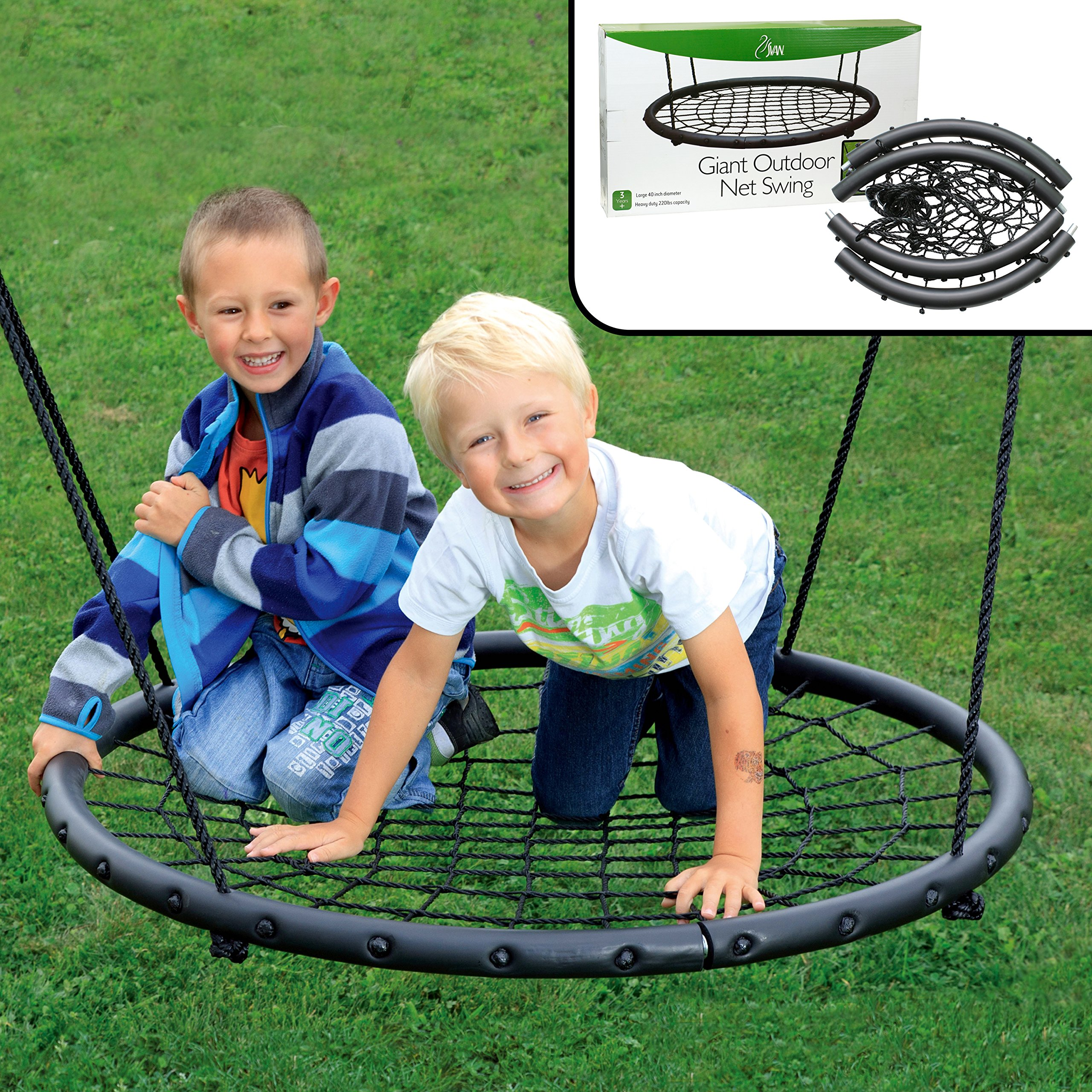 Tree Net Swing- Giant 40'' Wide Two Person Outdoor Web Rope Swing Set (Holds Over 220 lbs)