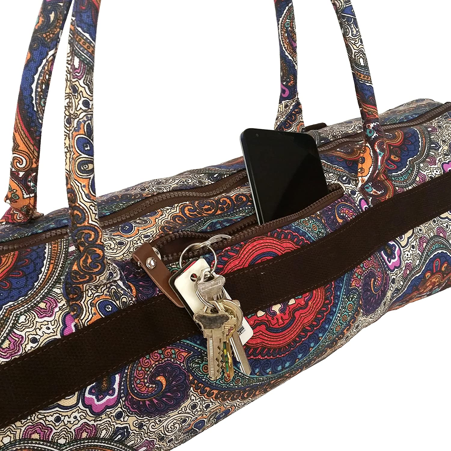 5bbca72343ed Amazon.com : Yoga Mat Bags Carrier Patterned Canvas with Pocket and Zipper  (Celestial) : Sports & Outdoors