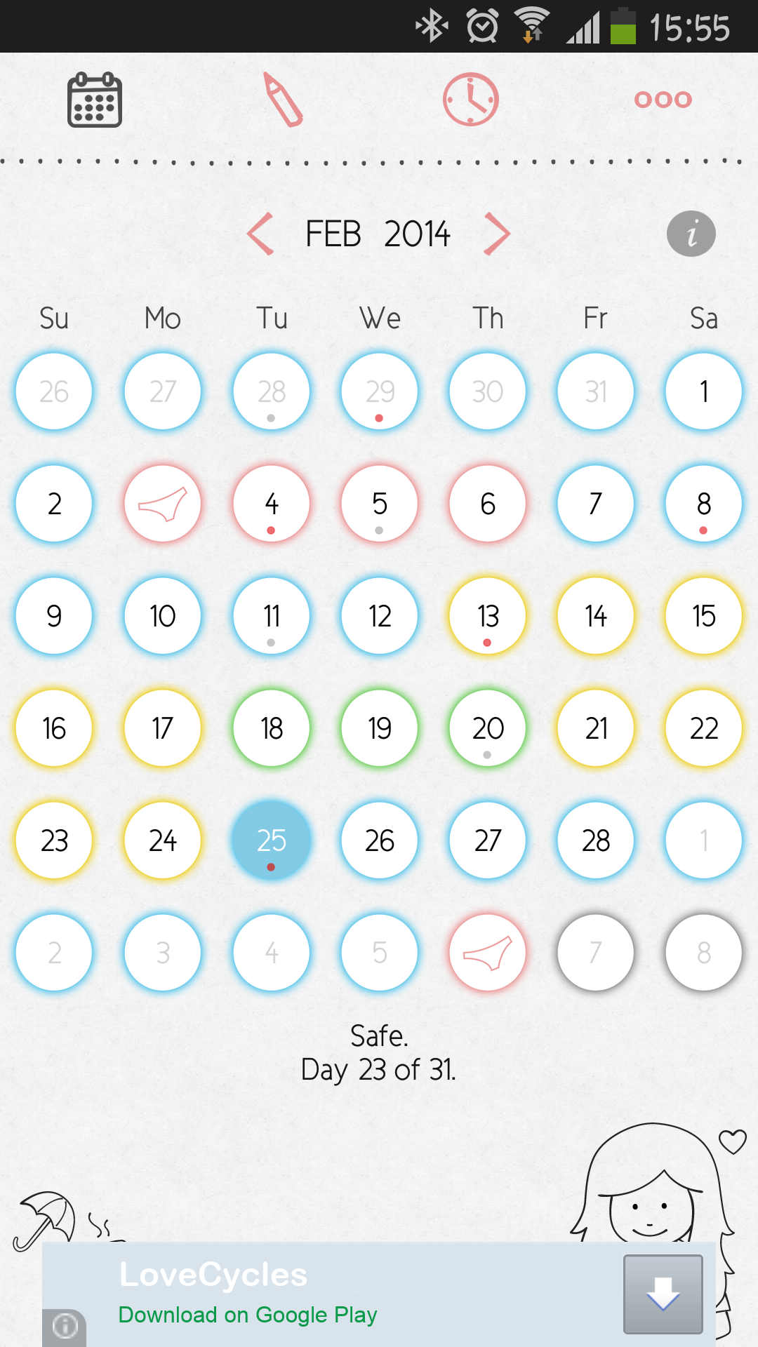 Amazoncom Lovecycles Menstrual Calendar Appstore For Android