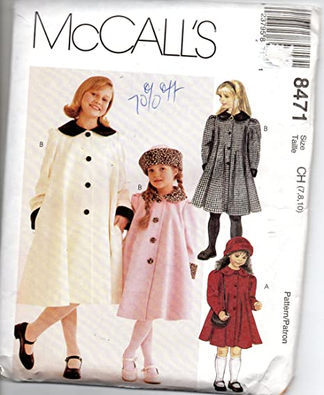 Amazon.com: Mccalls 8471 girls lined coat and hat size 7-8 ...
