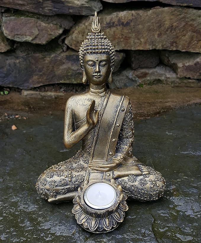 Sitting Buddha Tea Light Holder Indoor Garden Outdoor Statue Ornament Amazon Co Uk Kitchen Home