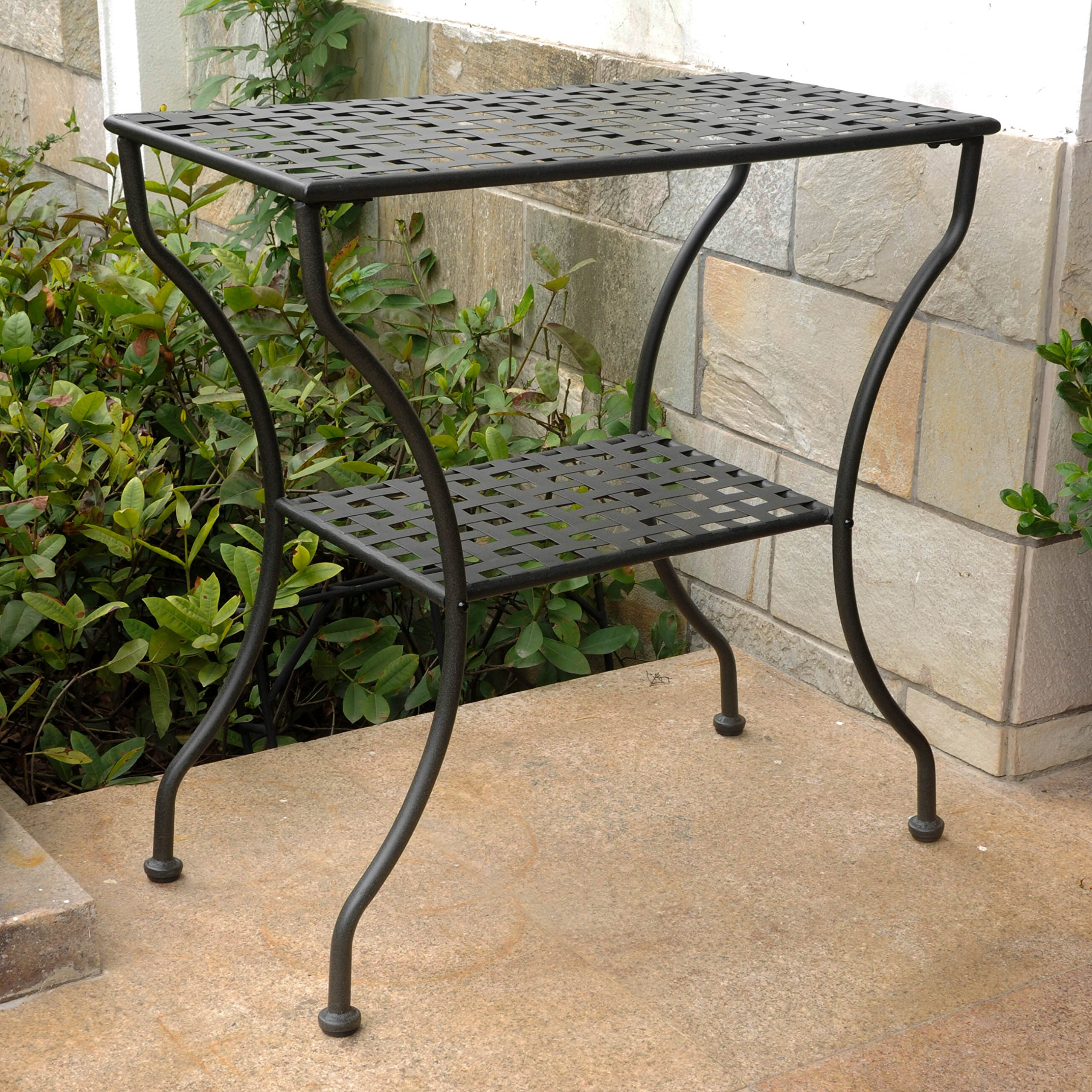 International Caravan 74361 Iron 2-Tier Patio Side Table, Antique Black by International Caravan